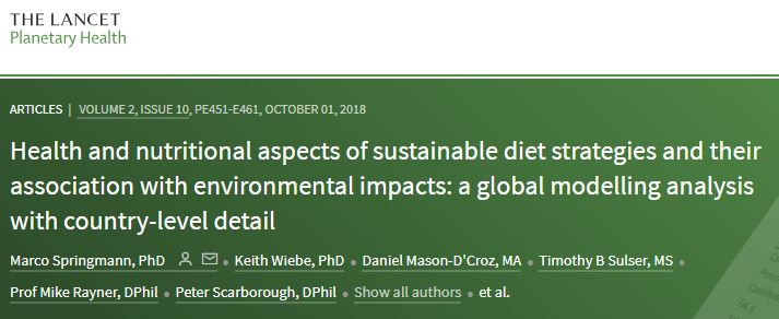 Health and nutritional aspects of sustainable diet strategies and their association with environmental impacts: a global modelling analysis with country-level detail